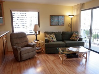 Living room is large and airy. Couch is sofa bed.  Large lanai outside.